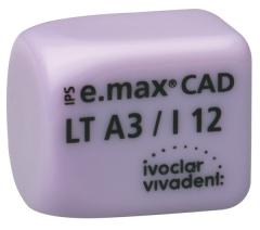 IPS E.MAX CAD MONOLITHIC SOLUTIONS LT (Basse Translucidité) I12 La boîte de 5, inLab LT I12 A-D 42-1822
